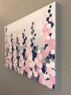 Navy Blue, Pink and Grey Textured Painting, Abstract Flowers, Large Acrylic Painting on Canvas, select a size. Navy Blue Pink and Grey Textured Painting Abstract Flowers Blue And Pink Bedroom, Blush Bedroom, Grey Bedroom With Pop Of Color, Pink Bedroom Decor, Pink Grey, Pink And Gold, Bedroom Ideas, Bedroom Designs, Pink Master Bedroom