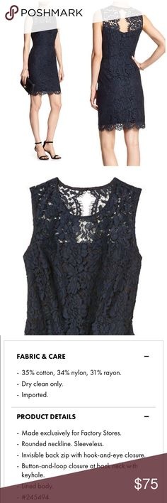 Banana Republic Lace Sheath Dress Dress description in pictures. Navy Lace, black underlay. Dress has a tiny amount of stretch in it. Sold out online. NO TRADES, NO PP, NO MERC, NO LOWBALL OFFERS! Smoke-free home. Banana Republic Dresses