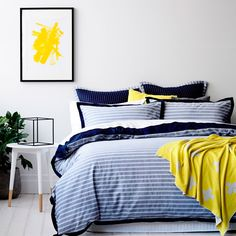 Beautiful yarn dyed striped cotton creates a striking look for this autumn season while a bold flange edging  adds a touch of luxury. Solid navy reverse creates a classic highlight alternative and coordinating european  and standard pillowcases finish the design.Â