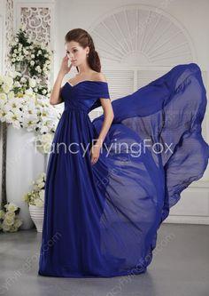 Unique Single Shoulder A-line Full Length Royal Blue Chiffon Formal Evening Dresses With Draped