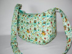 Diana Mini Hobo Shoulder Bag Purse Vera Bradley Type Quilted Owls Multi Color