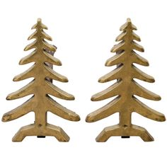 Pair of Mid Century Solid Brass Tree-Form Andirons | From a unique collection of antique and modern andirons at http://www.1stdibs.com/furniture/building-garden/andirons/