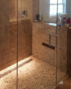 Bathrooms & Showers - Pebble Tile Shop Aqua Bathroom, Cozy Bathroom, Bathroom Ideas, Shower Bathroom, Pebble Tile Shower, Pebble Mosaic Tile, Shower Floor, Shower Walls, The Tile Shop