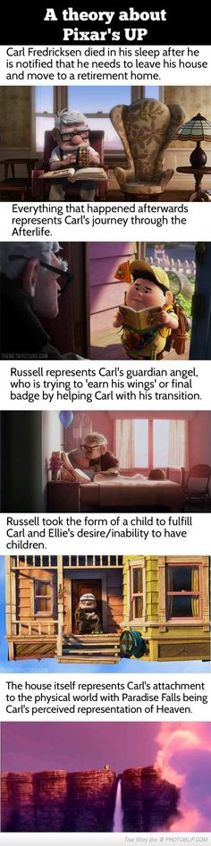 One of my favorite animated movies.A theory about Pixar's UP…woah.deep Why do Pixar theories creep me out? Help me. Walt Disney, Disney Love, Disney Magic, Disney Stuff, Childhood Ruined, Right In The Childhood, Humor Disney, Disney Quotes, Disney Theory