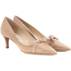 Jimmy Choo Verla Patent Leather Pumps ($355) ❤ liked on Polyvore featuring shoes, pumps, heels, neutrals, nude heel shoes, nude pumps, nude patent leather shoes, patent shoes and heel pump