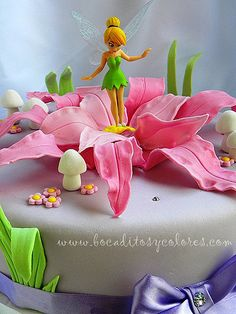 Tinkerbell cake | Two layer (fuschia and lavender) vanilla c… | Flickr