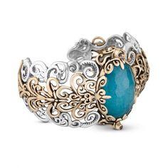 Carolyn Pollack Jewelry   Brilliance Mixed Metal Blue Quartzite Doublet Cuff Bracelet