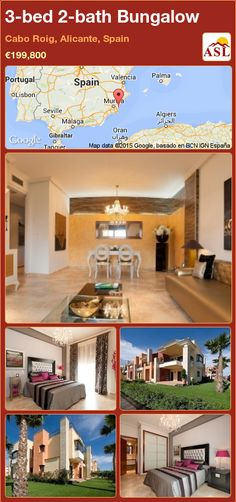 Bungalow for Sale in Cabo Roig, Alicante, Spain with 3 bedrooms, 2 bathrooms - A Spanish Life Valencia, Portugal, Royal Park, Bungalows For Sale, Alicante Spain, Construction Process, Green Park, Cabo, Tile Floor