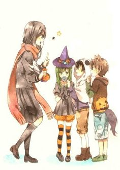Resultado de imagem para anime girl halloween