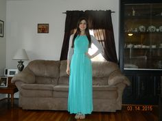 Silver jacket from Plato's Closet Light blue maxi dress from Target 2015