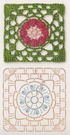 grannys sencillos-crochet-otakulandia.es (9) Crochet Diagram, Crochet Chart, Crochet Motif, Crochet Flowers, Knit Crochet, Crochet Patterns, Grannies Crochet, Crochet Granny Square Afghan, Crochet Squares