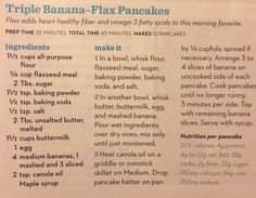 Triple banana-flax pancakes (Parents mag, Sept 2013)