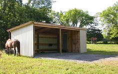 2 bay shed with attached feed room Horse Shed, Horse Barn Plans, Horse Stalls, Garage Plans, Shed Plans, Field Shelters, Loafing Shed, Horse Shelter, Mini Barn