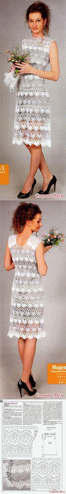 . Серебристо белый ажур. Нарядное платье. - Все в ажуре... (вязание крючком) - Страна Мам