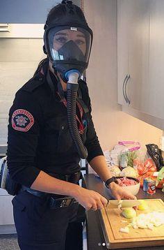 Gas Mask Girl, Female Firefighter, Respirator Mask, Safety, Girls, Women, Mascaras, Masks, Security Guard