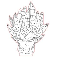 Goku 3d illusion lamp plan vector file for CNC - 3bee-studio
