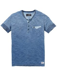 Indigo granddad-shirt met korte mouwen T-shirt s/s Mannenkleding bij Scotch & Soda