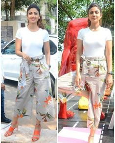 Shilpa Shetty - celebrity in palazzo pants Look Plazzo Pants Outfit, Culottes Outfit, Fashion Pants, Look Fashion, Fashion Dresses, Casual Work Outfits, Trendy Outfits, Designer Party Wear Dresses, Indian Designer Wear