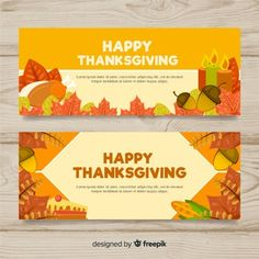 Thanksgiving day banner set with autumn elements Design Inspiration, Design Ideas, Happy Thanksgiving, Vector Free, November, Banner, Graphics, Autumn, Graphic Design