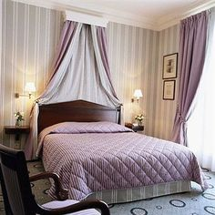 For McKena's Paris room... window treatment - and over bed!.... Astor Saint Honore Hotel Paris France Bedroom relaxing colour.