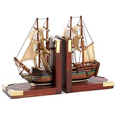Classical Bookends Sailing ship Schooner design home decor