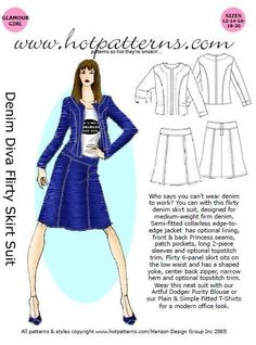 HotPatterns Denim Diva Flirty Skirt Suit Pattern size12 through 20. $9.99, via Etsy.