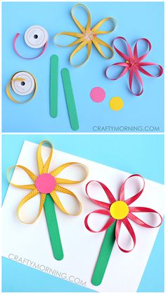 Ribbon Flowers on a Stick - Cute Spring craft for kids to make! | CraftyMorning.com
