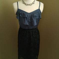 """Ruffles and lace cocktail dress I love this smoky teal color. Black lace. Lined. Great condition. Polyester. Approx 29.5"""" long. Adjustable straps.  Dress form is 34/25/33. Xhilaration Dresses"""