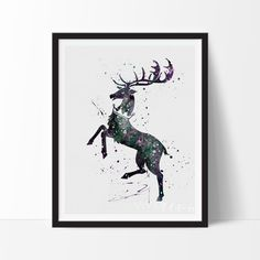 House Baratheon Watercolor Art. This art illustration is a composition of digital watercolor images and silhouettes in a minimalist style.