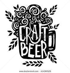 Vector illustration - Hand drawn lettering for bar or beer festival with mug of craft beer. Design for pub menu, beer house, brewery poster, label or logo. - stock vector #beerfestival #beermugs
