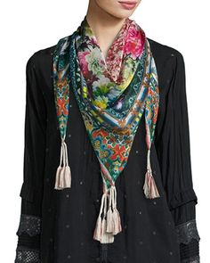 Rosaila Silk Georgette Scarf, Multi by Johnny Was at Neiman Marcus. Stylish Dress Designs, Stylish Dresses, Designer Scarves, Designer Dresses, Johnny Was Clothing, Floral Scarf, Silk Scarves, Womens Scarves, Plaid Scarf