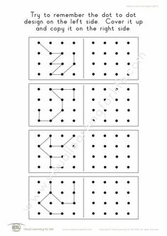 """In the """"Memory Dot Designs (4x4)"""" worksheets, the student must remember the dot to dot design on the left side, so that they can copy it to the right side from memory. Learning For Life, Visual Learning, Worksheets, Visual Memory, Right Side, Try To Remember, Dots Design, 4x4, Relationship"""