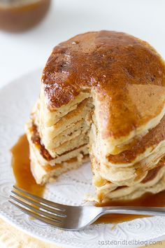 Apple Cider Pancakes with Caramel Apple Syrup - this sounds so good and I don't even like pancakes.
