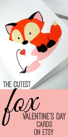 A round up of the cutest Fox Valentine's Day Cards on Etsy. Everything from PDF, instant downloads to die cut, handmade originals. #ValentinesDay #Valentine #Fox