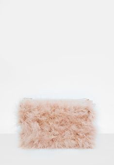 Missguided - Nude Feather Clutch Bag