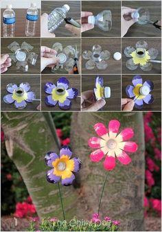 Fleurs réalisées à partir de bouteilles plastiques !
