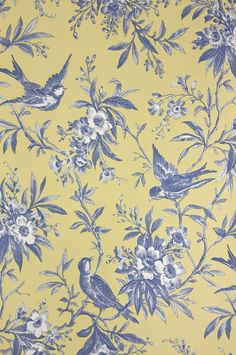 Chelsea Morning Toile Wallpaper A toile wallpaper featuring birds amongst flowering branches in blue on yellow.