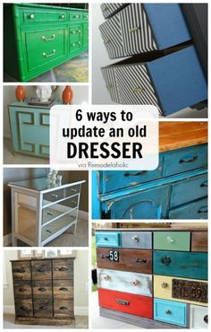 Great do-able ideas for updating an old dresser to look so much better! Love these painted dressers!