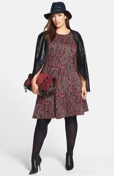 Paisley Print Fit & Flare Dress (Plus Size)