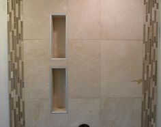 Rain Shower with Niches - Maple Ridge, BC modern bathroom - Schluter offers edging for niches in a few different colors. Classic Bathroom, Modern Bathroom, Bathroom Ideas, Schluter Shower, Shower Niche, Vintage Bathrooms, Rain Shower, Home Decor Bedroom, Country Decor