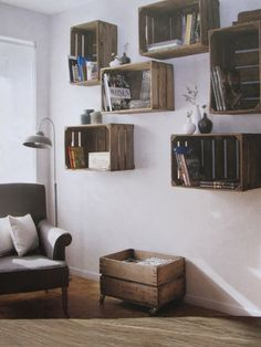 living room ideas – New Ideas Wooden Crate Shelves, Diy Home Decor, Room Decor, Man Room, Fashion Room, Living Room Inspiration, Home Living Room, Home Projects, Furniture Design