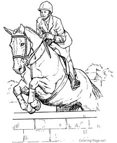Horse Coloring Page - Jumping horse