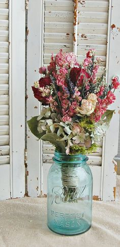 Dried Flower Arrangement / Summer Bouquet  / Cottage Chic Decor on Etsy, $23.00