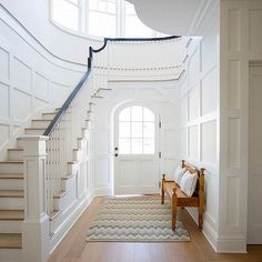 #BPHloves this #foyer with #beautiful #wainscoting #curved #window featured on @homebunch