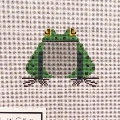 Charley-Harper-Small-Frog-Ornament-Handpainted-Needlepoint-Canvas