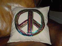 Dazzling sequin peace sign pillow 14 X 14 pillow form included. $22.00, via Etsy. - very cute for tween room