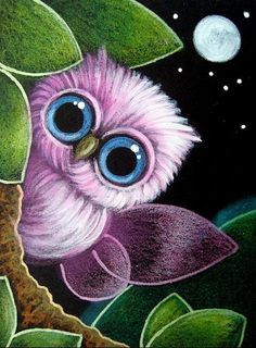 The pink fairy owl (? Easy Canvas Painting, Painting & Drawing, Canvas Art, Owl Canvas, Owl Pictures, Beautiful Owl, Owl Crafts, Owl Art, Pastel Art