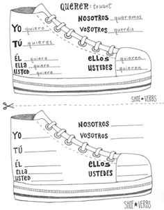E to IE stem changing Spanish shoe verb chart boot verb wo Spanish Grammar, Spanish Vocabulary, Spanish Teacher, Spanish Language, Spanish Lessons For Kids, Spanish Lesson Plans, Learn Spanish, Spanish 1, Spanish Classroom Activities