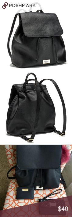 """Black Victoria's Secret backpack Glam on the go: this adjustable backpack keeps your necessities at the ready and out of the way. Adjustable straps Adjustable drawstring shape 5½""""D X 11¼""""W X 12¼""""H Imported polyurethane        AC-365-309 PINK Victoria's Secret Bags Backpacks"""