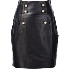 Alexandre Vauthier Buttoned High Waisted Skirt ($3,515) ❤ liked on Polyvore featuring skirts, black, knee length leather skirt, real leather skirt, button skirt, alexandre vauthier and leather skirt